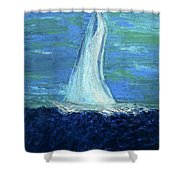Sailing On The Blue Shower Curtain
