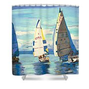 Sailing Regatta At Port Hardy Shower Curtain