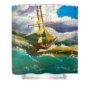 Sailing Ship In A Storm Shower Curtain