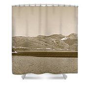 Sailing Ship In The Adriatic Islands In Sepia Shower Curtain