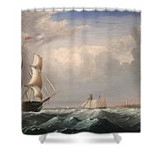 Sailing Ships Off The New England Coast Shower Curtain