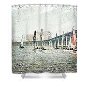 Sailing Sketch Photo Shower Curtain