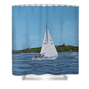 Sailing Through Dalkey Sound Shower Curtain