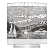 Sailing Mount Hood Oregon Shower Curtain