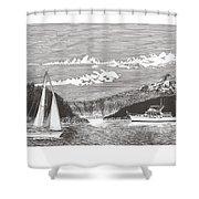 Sailing Mount Hood Oregon Shower Curtain