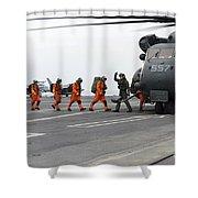 Sailors Board An Mh-53e Sea Dragon Shower Curtain