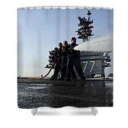 Sailors Conduct Hose Team Training Shower Curtain