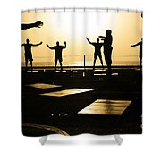 Sailors Exercise In The Hangar Bay Shower Curtain