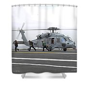 Sailors Leave The Landing Area Of An Shower Curtain