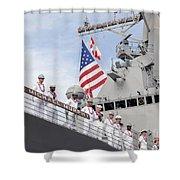 Sailors Man The Rails Aboard Uss Shower Curtain