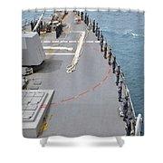 Sailors Man The Rails On Uss Mccampbell Shower Curtain