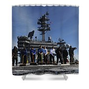 Sailors Participate In A Fight Deck Shower Curtain