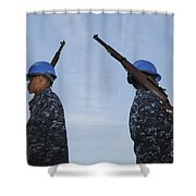 Sailors Practice A Routine Aboard Uss Shower Curtain