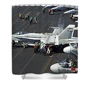 Sailors Push An Fa-18c Hornet Shower Curtain