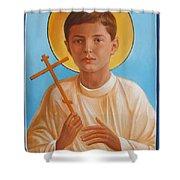 Saint Alexei Oil Icon On Wood. Tsarevich  Passion-bearer Shower Curtain