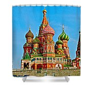 Saint Basil Cathedral In Red Square In Moscow- Russia Shower Curtain