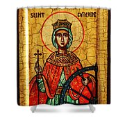 Saint Catherine Of Alexandria Icon Shower Curtain