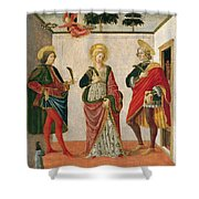 Saint Cecilia Between Saint Valerian And Saint Tiburtius With A Donor Shower Curtain
