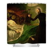 Saint Francis Borgia Helping A Dying Impenitent Shower Curtain
