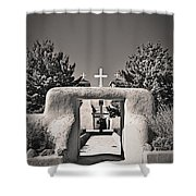 Saint Francis In Sepia Gold Shower Curtain