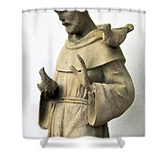 Saint Francis Of Assisi Statue With Birds Shower Curtain