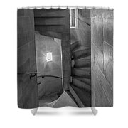 Saint John The Divine Spiral Stairs Bw Shower Curtain
