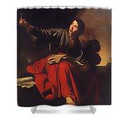 Saint John The Evangelist At Patmos Shower Curtain