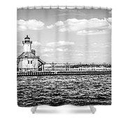 Saint Joseph Lighthouse Retro Panoramic Photo Shower Curtain
