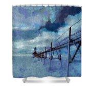 Saint Joseph Pier Lighthouse In Winter Shower Curtain by Dan Sproul