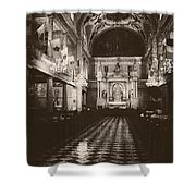 Saint Louis Cathedral New Orleans Black And White Shower Curtain