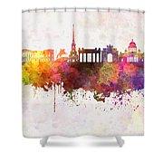 Saint Petersburg Skyline In Watercolor Background Shower Curtain