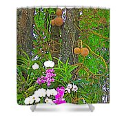 Sala Tree And Orchids At Buddhist University In Chiang Mai-thail Shower Curtain