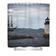 Salem's Friendship Sails Past Fort Pickering Lighthouse Shower Curtain