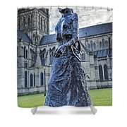 Salisbury Cathedral And The Walking Madonna 2 Shower Curtain
