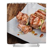 Salmon Teriyaki Skewers Shower Curtain