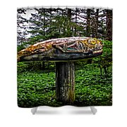 Salmon Totem Pole Shower Curtain