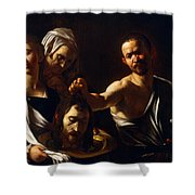 Salome Receives Head Of John The Baptist Shower Curtain by Michelangelo Merisi da Caravaggio