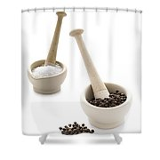 Salt And Pepper In Pestle And Mortars Shower Curtain