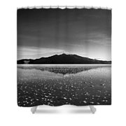 Salt Cloud Reflection Black And White Shower Curtain