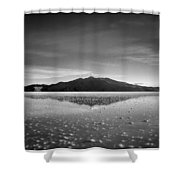 Salt Cloud Reflection Black And White Select Focus Shower Curtain