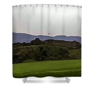 Saltire And The Ruins Of The Urquhart Castle In Scotland At A He Shower Curtain