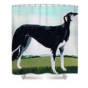 Saluki Cross Shower Curtain by Maggie Rowe