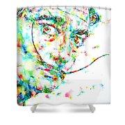 Salvador Dali Watercolor Portrait Shower Curtain