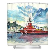 Salvage Ship In Cartagena Shower Curtain