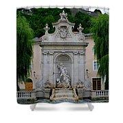 Salzburg Castle With Fountain Shower Curtain
