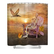 Sam Is Tickled With A Visiting Pelican Shower Curtain