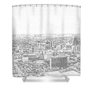 San Antonio Downtown Lineart Shower Curtain