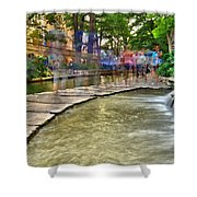 San Antonio Riverwalk Slomo Shower Curtain