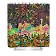 San Antonio Skyline Watercolor 5 Shower Curtain