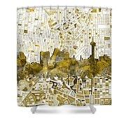 San Antonio Skyline Watercolor 7 Shower Curtain